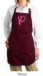 Breast Cancer Ladies Apron Ribbon Heart Full Length Apron with Pockets