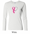 Breast Cancer Ladies Shirt Ribbon Heart Long Sleeve Tee T-Shirt