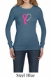 Breast Cancer Ladies Shirt Ribbon Heart Long Sleeve Thermal Tee