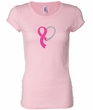 Breast Cancer Ladies Shirt Ribbon Heart Longer Length Tee T-Shirt