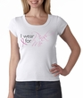 Breast Cancer Ladies Shirt Scoop Neck I Wear Pink For Me White