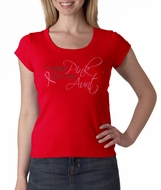 Breast Cancer Ladies Shirt Scoop Neck I Wear Pink For My Aunt Red