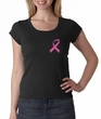 Breast Cancer Ladies Shirt Scoop Neck Pink Ribbon Pocket Print Black