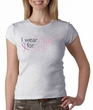 Breast Cancer Ladies T-shirt Crewneck I Wear Pink For Me Heather Grey