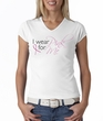 Breast Cancer Ladies T-shirt - V-neck I Wear Pink For Me White Tee
