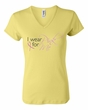 Breast Cancer Ladies T-shirt - V-neck I Wear Pink For Me Yellow Tee