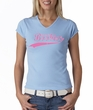 Breast Cancer Ladies T-shirt - V-neck Save The Boobies Baby Blue Tee