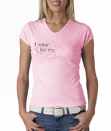 Breast Cancer Ladies T-shirts V-neck I Wear Pink For My Grandma