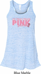 Breast Cancer My Team Wears Pink Ladies Flowy Racerback Tanktop