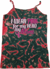 Breast Cancer Pink for My Hero Ladies Tie Dye Camisole Tank Top