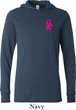 Breast Cancer Pink Ribbon Pin Pocket Print Lightweight Hoodie Tee