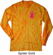 Breast Cancer Pink Ribbon Pin Pocket Print Long Sleeve Tie Dye Shirt