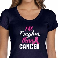 Breast Cancer Shirt Tougher Than Cancer Scoop Neck Tee T-Shirt