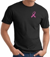 Breast Cancer T-shirt Pink Ribbon Pocket Print Black Tee