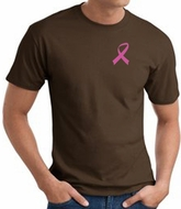 Breast Cancer T-shirt Pink Ribbon Pocket Print Brown Tee
