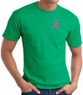 Breast Cancer T-shirt Pink Ribbon Pocket Print Kelly Green Tee