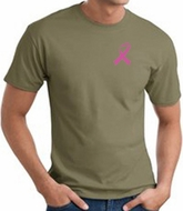 Breast Cancer T-shirt Pink Ribbon Pocket Print Olive Tee
