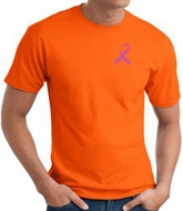 Breast Cancer T-shirt Pink Ribbon Pocket Print Orange Tee