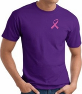 Breast Cancer T-shirt Pink Ribbon Pocket Print Purple Tee