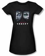 Bride Of Chucky Juniors T-shirt Movie Happy Couple Black Tee Shirt