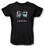 Bride Of Chucky Ladies T-shirt Movie Happy Couple Black Tee Shirt