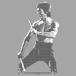 Bruce Lee Juniors T-shirt Chinese Characters Silver