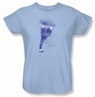 Bruce Lee Ladies T-shirt 10,000 Kicks Saying Light Blue