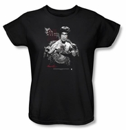 Bruce Lee Ladies T-shirt Fearless Dragon Black