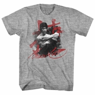 Bruce Lee Shirt Red Letters Athletic Heather T-Shirt
