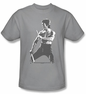 Bruce Lee T-shirt Adult Chinese Characters Silver