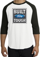 Built Ford Tough Raglan Shirt - Ford Logo Adult White/Black T-Shirt