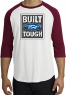 Built Ford Tough Raglan Shirt - Ford Logo Adult White/Cardinal T-Shirt