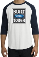 Built Ford Tough Raglan Shirt - Ford Logo Adult White/Navy T-Shirt