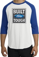 Built Ford Tough Raglan Shirt - Ford Logo Adult White/Royal T-Shirt