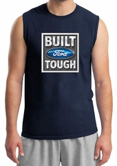 Built Ford Tough Shirt Ford Logo Mens Navy Muscle Tee T-Shirt