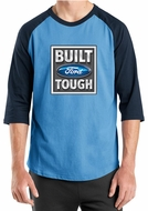 Built Ford Tough Shirt Logo Mens Carolina Blue/Navy Raglan Tee T-Shirt