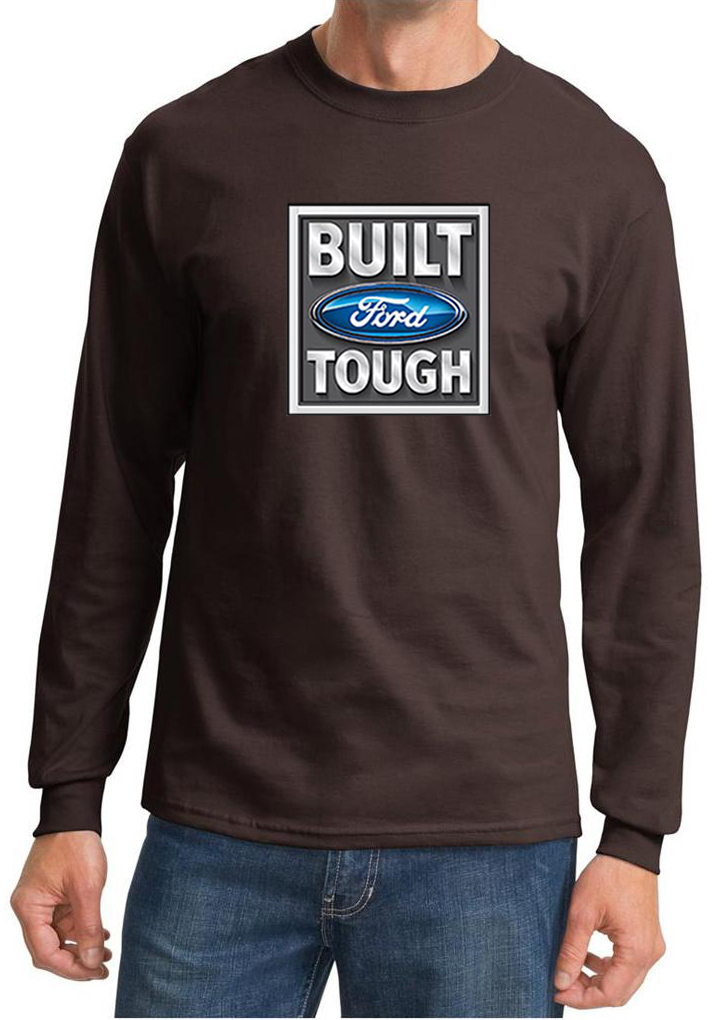 Built ford tough shirt logo mens dark brown long sleeve for Black brown mens shirts