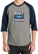 Built Ford Tough Shirt Logo Mens Heather Grey/Navy Raglan Tee T-Shirt