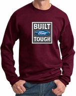 Built Ford Tough Sweatshirt Ford Logo Mens Maroon Sweat Shirt