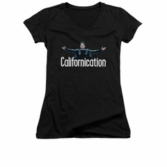 Californication Shirt Juniors V Neck Outstretched Black T-Shirt