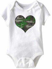Camo Soldier Heart Funny Baby Romper White Infant Babies Creeper
