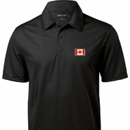 Canada Flag Patch Pocket Print Mens Textured Polo