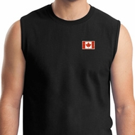 Canada Flag Patch Pocket Print Muscle Shirt