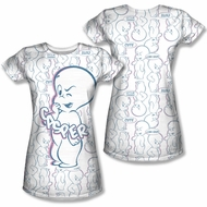 Casper The Friendly Ghost Sublimation Juniors Shirt Front/Back Print