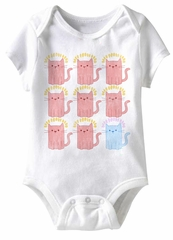 Cat's Meow Funny Baby Romper White Infant Babies Creeper
