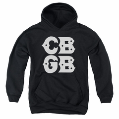 CBGB Youth Hoodie Stacked Logo Black Kids Hoody