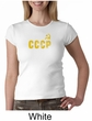 CCCP Ladies T-shirt Soviet Union USSR Russia Insignia Crew Neck Shirt