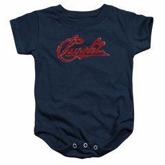 Chevy Baby Romper Distressed Script Navy Infant Babies Creeper