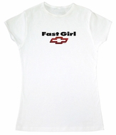 Chevy Bowtie Ladies T-Shirt - Fast Girl Fitted White Tee