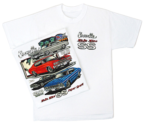 chevy chevelle ss t shirt hotrod muscle car adult white. Black Bedroom Furniture Sets. Home Design Ideas